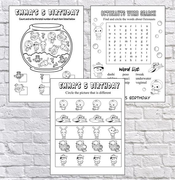 Personalized Octonauts Party coloring pages PDF file NOT | Etsy