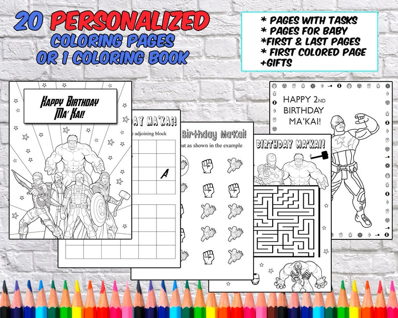 Personalized Avengers Birthday Party Coloring Pages Etsyrhetsy: Avengers Birthday Coloring Pages At Baymontmadison.com