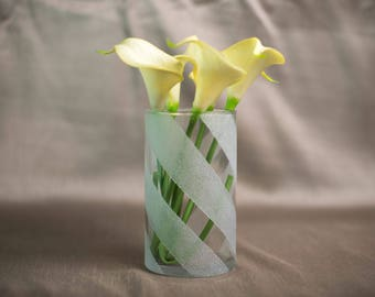 Frosted Striped Vase
