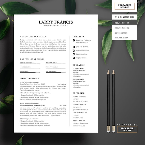 Resume Template / CV Template + Cover Letter | Instant Download | Teacher  Resume | Word Resume | Professional and Creative Resume Template
