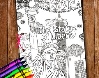New York City Printnew MapZendoodlecoloring PagesNYCStatue Libertyusa Coloringamerica Coloringcoloring Pages Kids