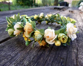 Handmade Hair Flower Wreath / Flower Crown (yellow)