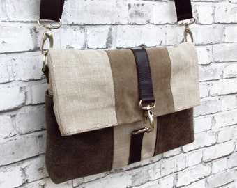 Crossbody bag for women. Linen and leather shoulder bag.  Linen and Leather bag with pockets. Women bag handmade.