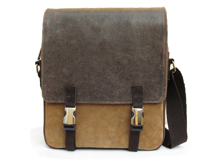 821d843388f Shoulder bag men made of leather and washed cotton. Handmade