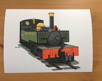 Lynton and Barnstaple Steam Locomotive Illustration Print