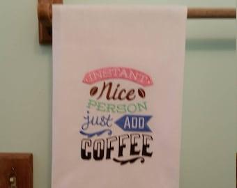 Coffee embroidered flour sack kitchen towel 3