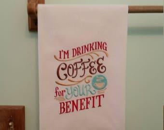 Drinking coffee embroidered flour sack kitchen towel 2