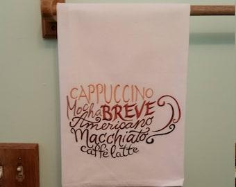 Coffee embroidered flour sack kitchen towel 5