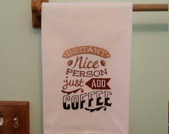 Coffee embroidered flour sack kitchen towel 4