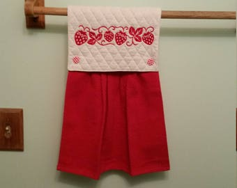 Embroidered strawberry kitchen towel
