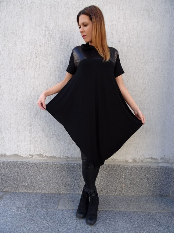 Black Tunic/Oversized Tunic/Womens Tunic/Tunic Dress/Plus Size  Tunic/Asymmetric Tunic/Tunic Top/Hooded Tunic/Womens Hoodie/Long  Tunic/YANORA