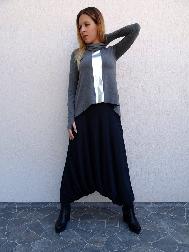 Asymmetric TunicExtravagant TunicWomens TunicOversize TunicPlus Size TunicLong Sleeve TunicGrey TunicTunic TopBlack TunicYANORA