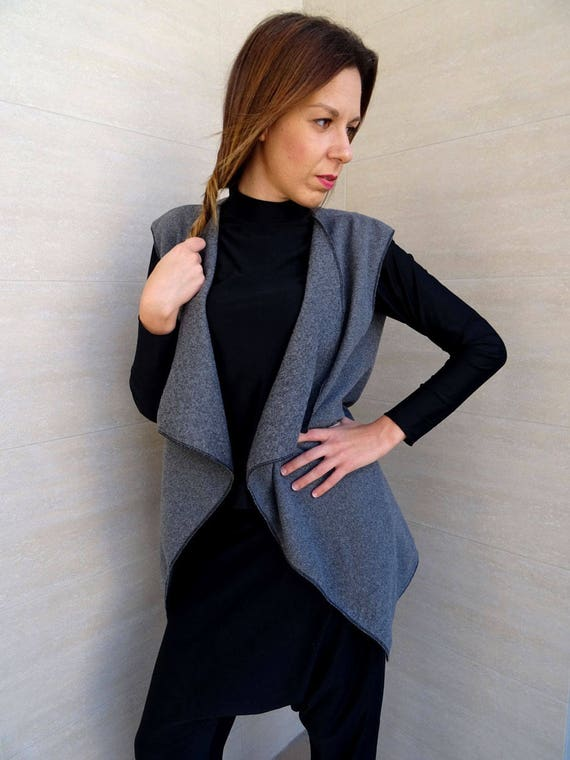 Wool Vest YANORA Oversize Grey Vest Size Vest Loose Knitted Coat Vest Asymmetric Womens Vest Vest Long Vest Wool Vest Casual Plus Vest Vest UqgooHFBCw