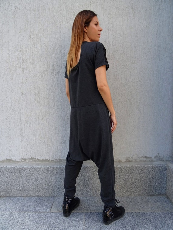 Dark Red Round Neck Hijab Jumpsuit WomensDrop Crotch Harem JumpsuitPlus Size Loose JumpsuitCotton Long Sleeve Jumpsuit JP0368TR