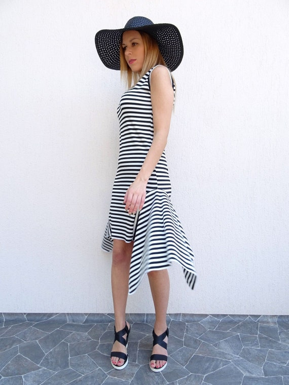 Asymmetric Dress/Summer Dress/Plus Size Dress/Black And White Dress/Stripes  Dress/Womens Dress/Maxi Dress/Short Dress/Oversize Dress/YANORA