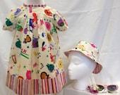 Animal dress and matching reversiable hat, girls dresses, childrens clothes, animal sunhat, sunhats, childrens sunhat, bright summer dress