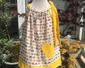 Girls dress, Cotton dress, Classic dress, Childrens clothing, Kids fashion, Handmade, Yellow elephant dress, Summer dressSpring dress,