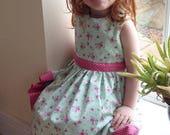 Girls dress, Cotton dress, Classic dress, Children clothing, kids fashion, Handmade, Green roses dress, Summer dress, Spring dress,
