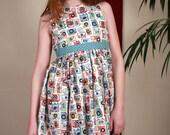 Girls dress, Cotton Dress, Classic dress, Children's clothing, Kis fashion, Handmade, Blue Dress, Summer dress, Spring dress, Girls party,