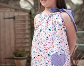 Girls dress, Cotton dress, classic dress, children clothing, Kids fashion, Handmade, pink/ purple bird dress, Summer dress, Spring dress