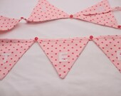 Sister's Themed Bunting, bunting, pink bunting, dotty, sisters presents, sisters, bedroom, home decro, strawberries, buttons, girls bunting,