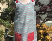 cutie mini red mushroom cotton fabric pinafore, with pocket, buttons can easy be adjusted once child gets bigger to fit