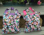 Reusable shopping bags, rock chick bags, skull bags, halloween shopping bags, cotton bags, shopping bags, pink bags, purple bags, reusable,