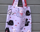 Cats shopping bag, shopping, cats, reusable bags, enviromental friendly, handmade bags, love cats, cotton re-useable bags, presents