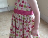 Girls dress, Cotton dress, Classic dress, Children clothing, Kids fashion, Handmade, Pink apple dress, Summer dress, Spring dress,