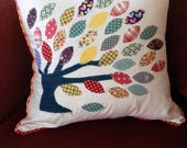 Handmade cushion, Decorative cushion, Tree cushion, mulitcoloured cushion, Upcycle scraps, Applique cushion, House warming gift, Pillow