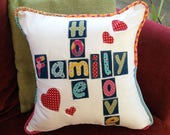 Handmade Decoative pillow, Cotton cushion, Crossword cushion, Upcycle straps,Applique cushion, Mothers day gift, House warming present