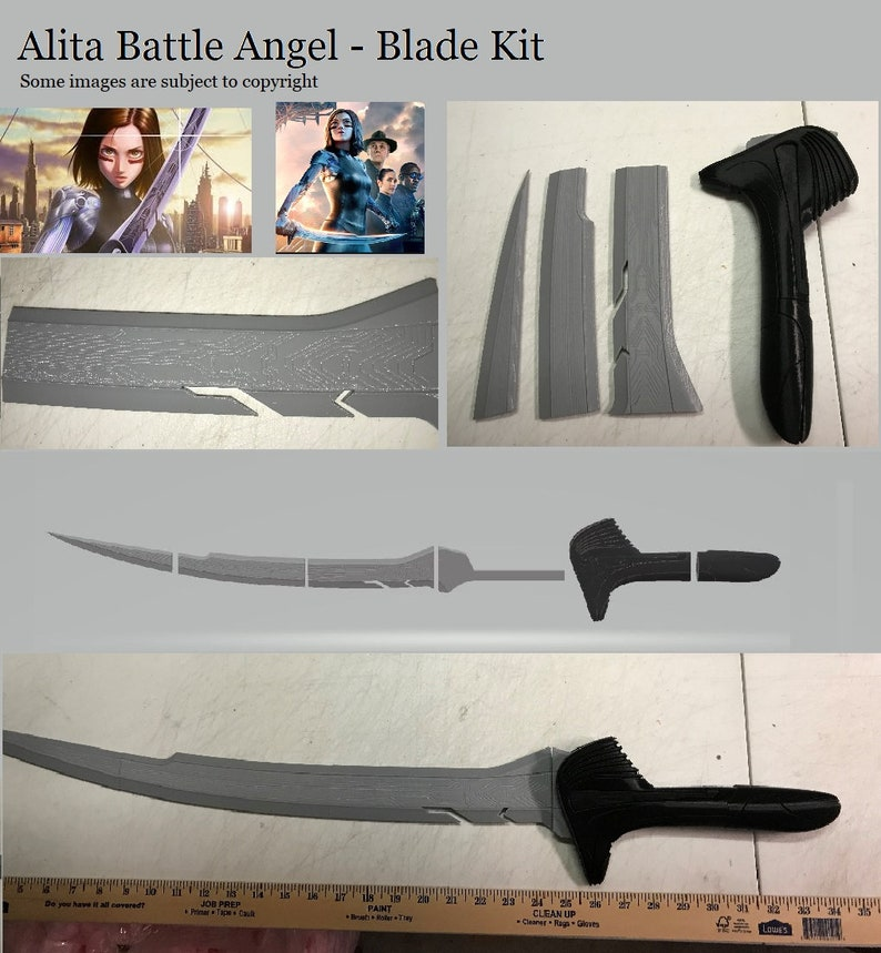 A 3D printed sword Alita Battle Angel Inspired by the Movie
