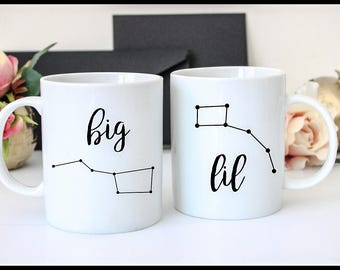 Big Dipper Little Dipper Mug Set, Ursa Major, Ursa Minor, Astronomy Mug, Constellation Mugs, Matching Set, Mother Daughter, Sorority Sisters