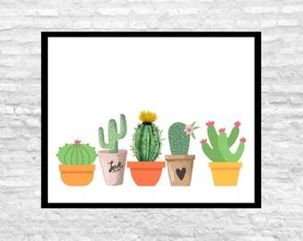 Cactus Wall Art, Cactus Instant Download, Cacti Art, Desert Art, Art Print, Home Decor, Potted Cactus, Watercolor, Water Color Cactus, Pots
