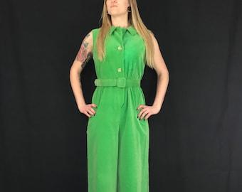 f8eec6f81 1970's Green Velvet Jumpsuit // Dynasty of Hong Kong // Vintage Clothes