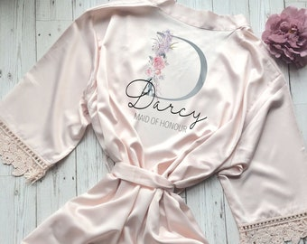 Bride Robe Personalised Wedding Robe Lace Bridal Dressing Gown Bridesmaid  Robe Wedding Gift Bridesmaid Gift 3ac627420