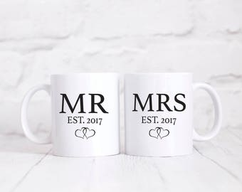 Wedding Gift Mr and Mrs Mugs Wedding Present Mr and Mrs Est. Cups