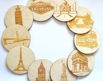 Landmark Coasters, Home Decor, Wooden Decor, Big Ben, Eiffel Tower, Travel Gift, Home Gift