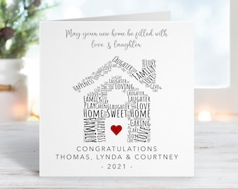 Personalised New Home Card - New Home Gift - Congratulations On Your New Home - Happy Moving Day - New Home Card For Friends