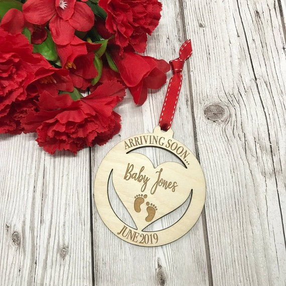 Personalised Baby Due Date Christmas Decoration Pregnancy Etsy