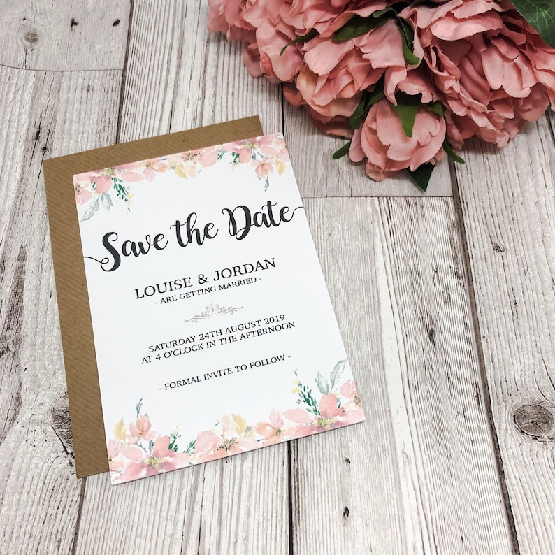 50 Personalised Floral Wedding Save The Dates
