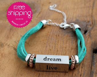 Dream bracelet.Charm bracelet.Friendship bracelet.Dream charm bracelet.Inspiration Bracelet.Gift for her.Live.Love.Laugh (Dream Bracelet)