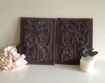French Antique carved panels