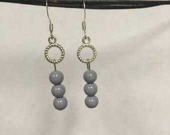 Gray Ceramic Beaded Earrings