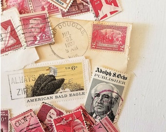 Assorted Used Vintage Postage Stamps / Red Postage Stamps / Canceled Stamps