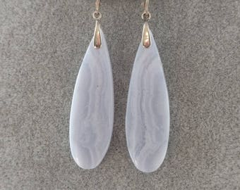Blue Lace Agate Sterling Silver Earrings