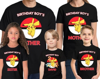 ecc0b60e Pokemon Birthday Custom Shirt Name and Age Personalized Pokemon Birthday  shirt