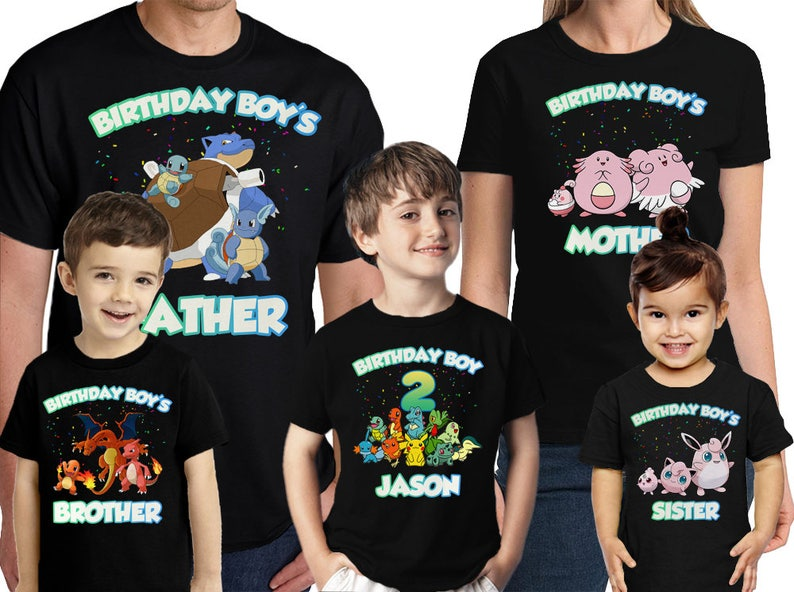1d8e109d6 Pokemon Birthday Shirt Personalized Name and Age Customized   Etsy