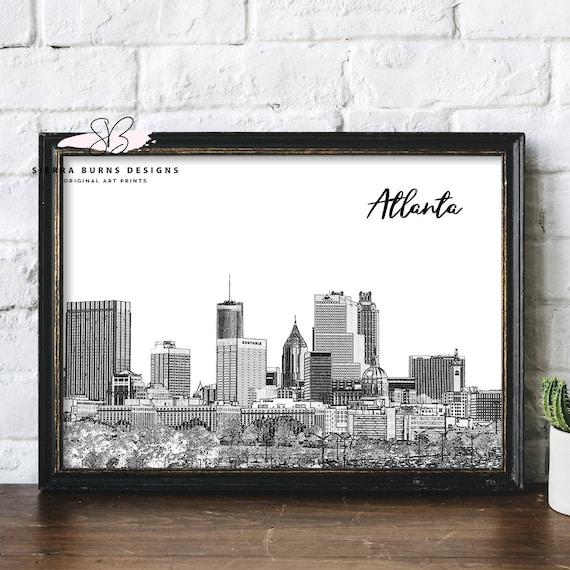 Atlanta Art Atlanta Skyline Atlanta Print Atlanta Wall Art | Etsy