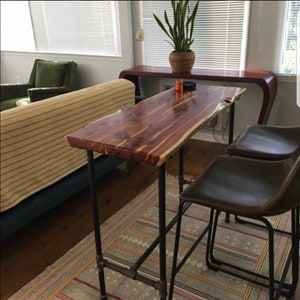 Live Edge Red Cedar Bar Table / Hallway Entry Table / Breakfast Bar With  Blacl Metal Pipe Legs